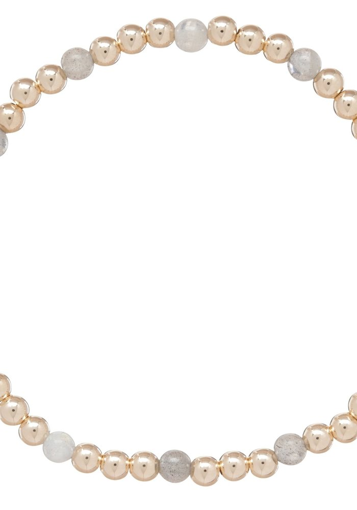 Labradorite Gold Sincerity Pattern 4mm Bead Bracelet
