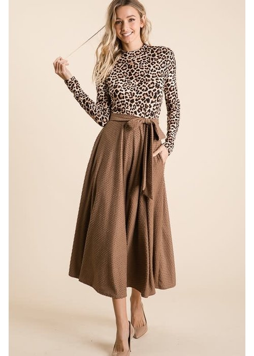 Mock Neck Long Sleeve Leopard Dress