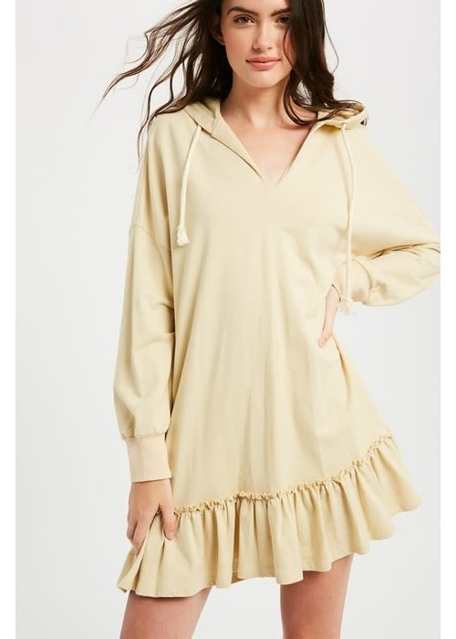 Hoodie Ruffle Hem Pocket Dress