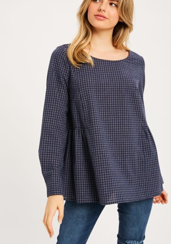 Long Sleeve Gingham Top