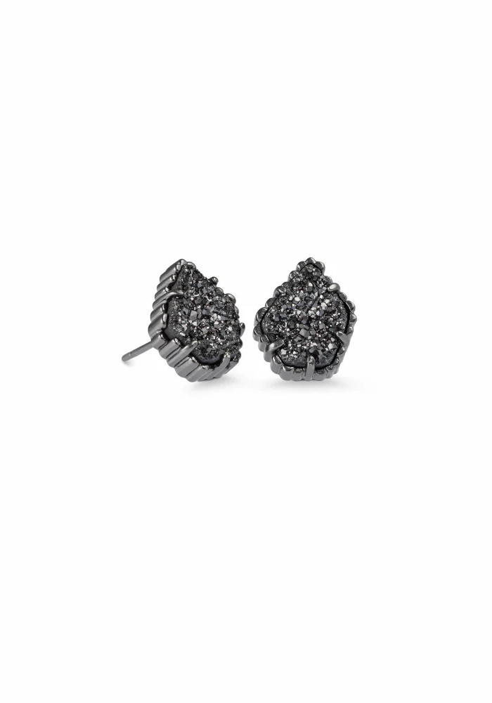 Tessa Earring Gunmetal Black Drusy
