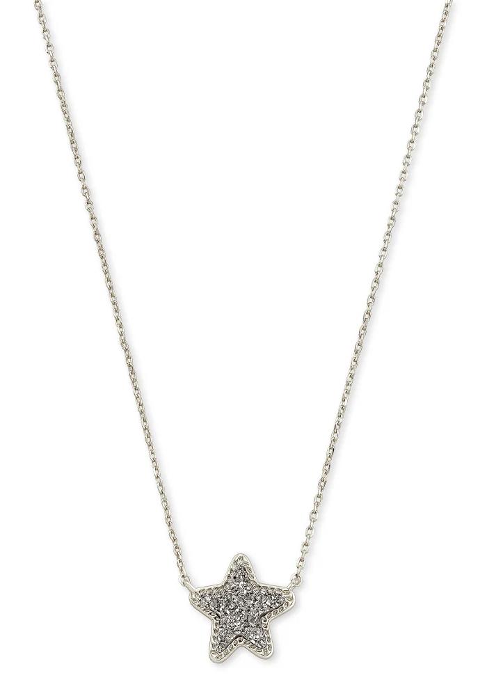 Jae Star Short Pendant Rhod Platinum Drusy
