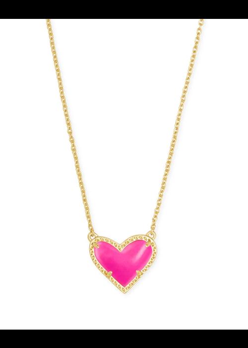 Kendra Scott Ari Heart Short Pendant Gold Magenta Magnesite