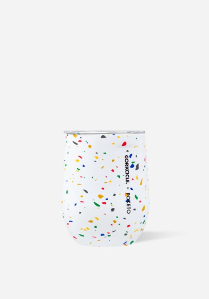 Poketo x Corkcicle  White Terrazzo Stemless Cup