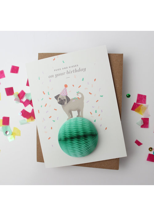"""Pugs & Kisses"" Birthday Pop-Up Card"