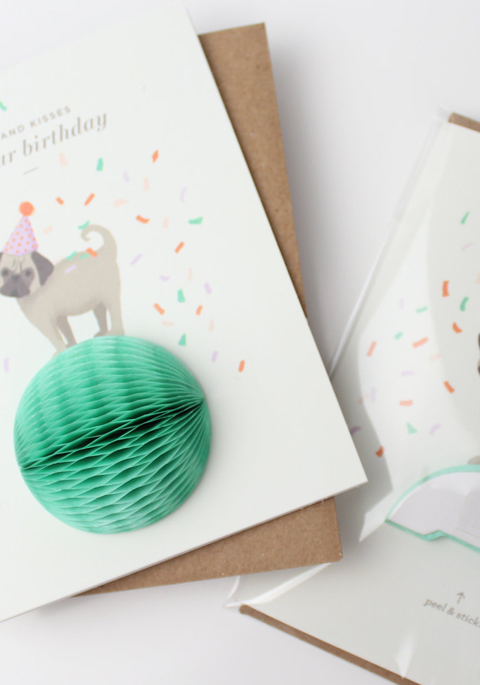 """Pugs & Kisses"" Birthday Pop-Up Card"
