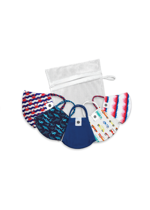 Kid's Pom Mask Bag Set Navy/Red Designs