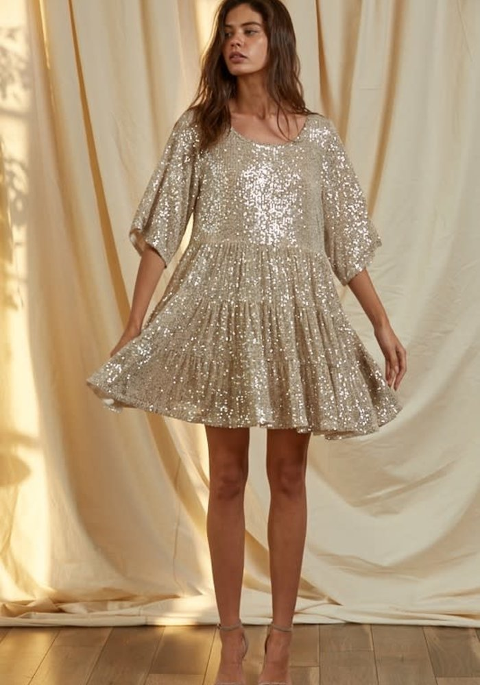 Champagne Sequin Babydoll Dress