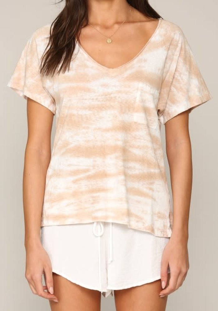 Neutral Tie Dye Pocket V-Neck Top