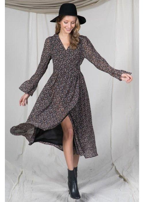 Black Printed V-Neck Midi Dress