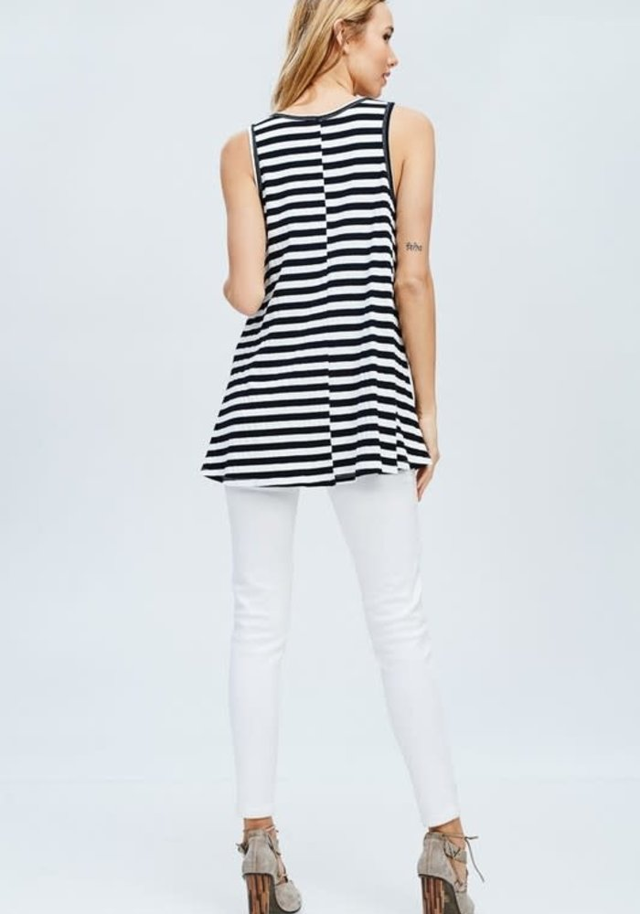 Stripe Loose Fit V-Neck Tank
