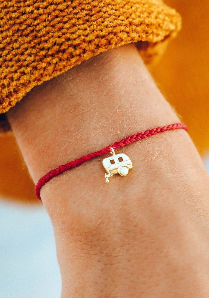 On the Road Gold Camper Charm Bracelet