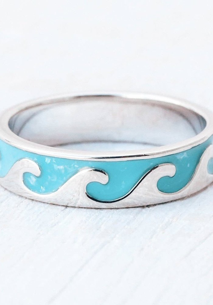Reversible Sparkling Turquoise/Silver Wave Ring