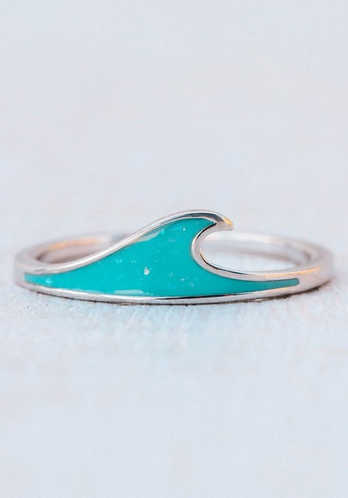 Sparkling Turquoise Silver Wave Stacking Ring