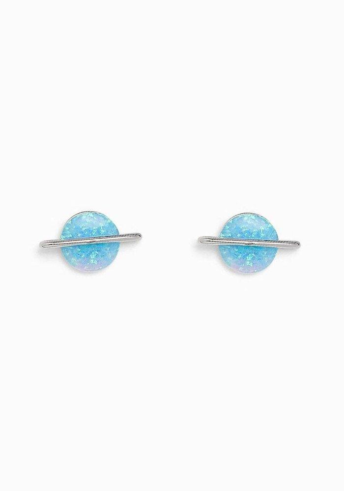 Opal Saturn Sterling Stud Earrings