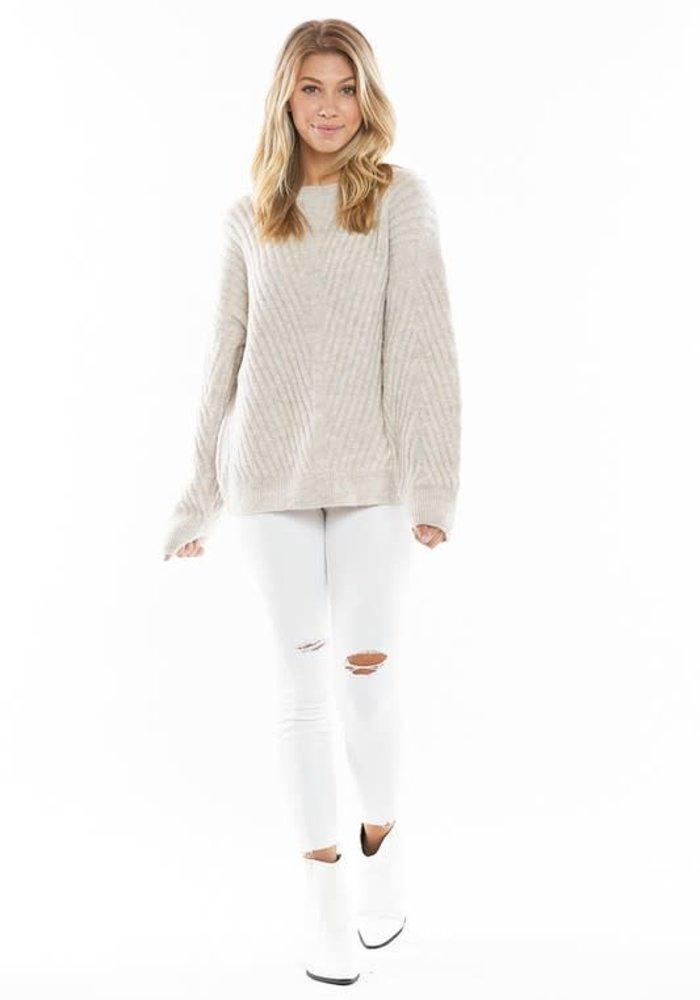 Oatmeal Chevron Pattern Ribbed Sweater