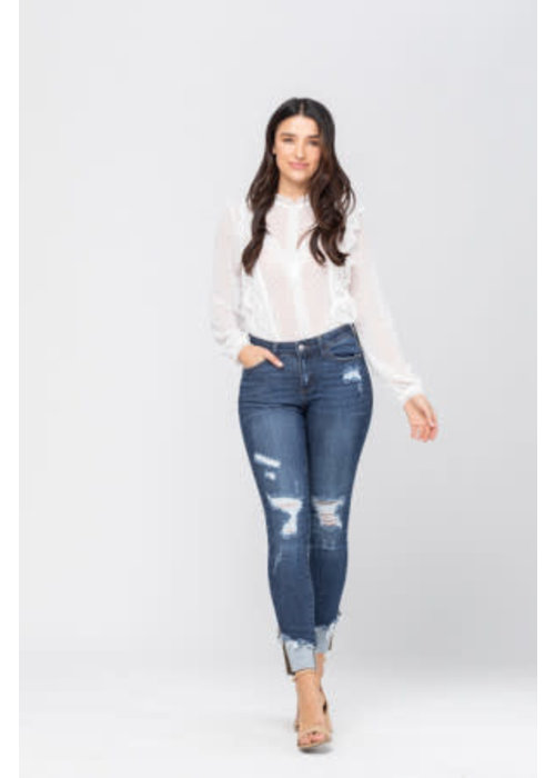 Asymmetrical Cuff Hem Destroyed Skinny Jean