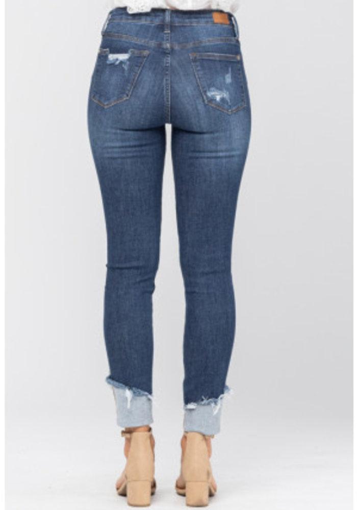 Asymmetrical Cuff Hem Destroyed Skinny Jean