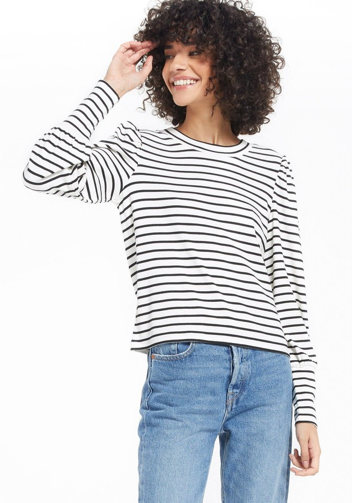 Clemente Striped Puff Sleeve Pullover Top