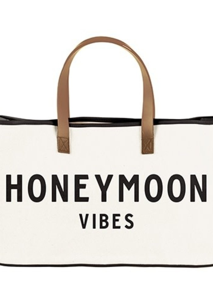 """Honeymoon Vibes"" Canvas & Leather Getaway Tote"