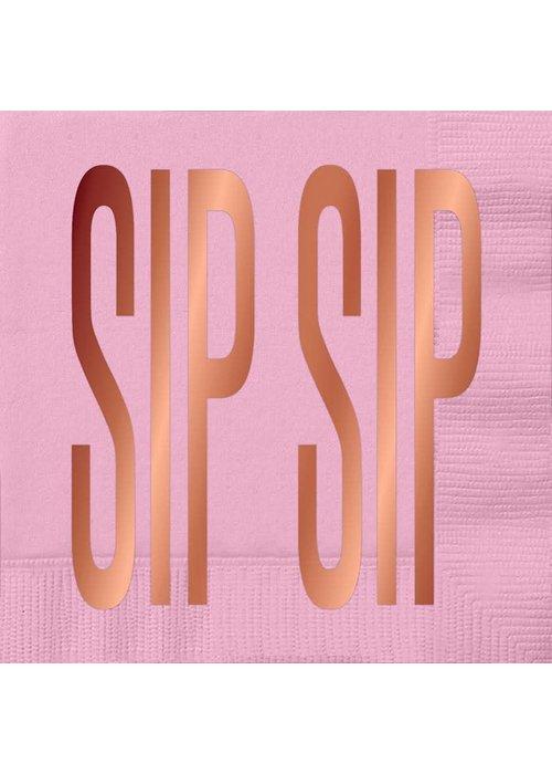 """""""Sip Sip"""" Rose Gold Foil Beverage Napkins 20-ct."""