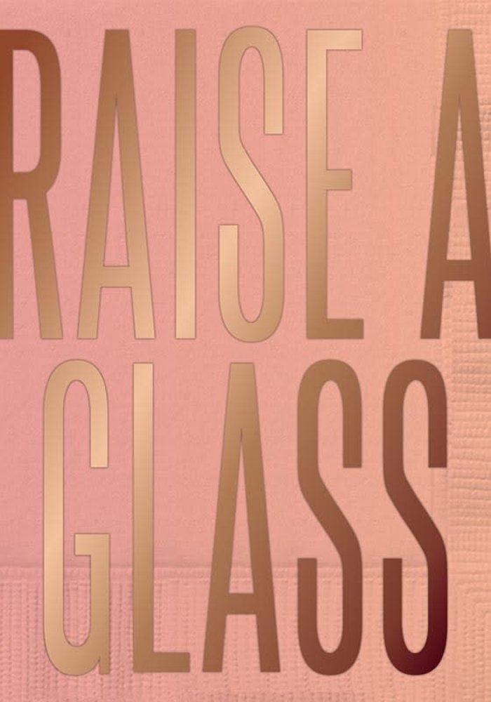 """Raise A Glass"" Rose Gold Foil Beverage Napkins 20-ct."