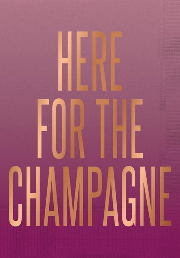 """""""Here For the Champagne"""" Rose Gold Foil Beverage Napkins 20-ct."""