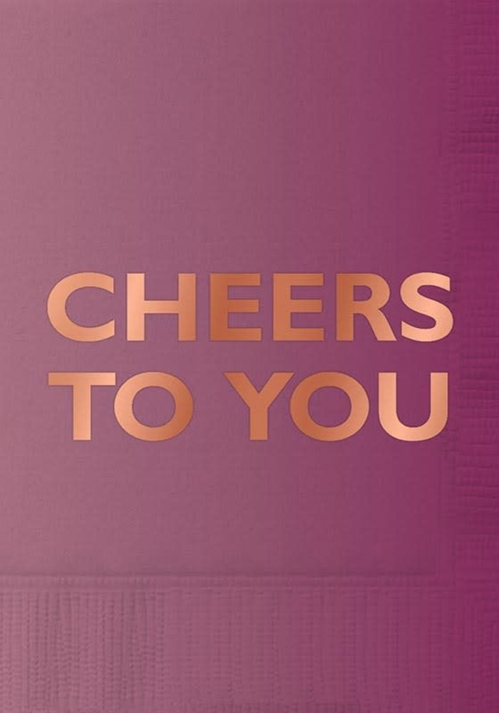 """Cheers to You"" Rose Gold Foil Beverage Napkins 20-ct."