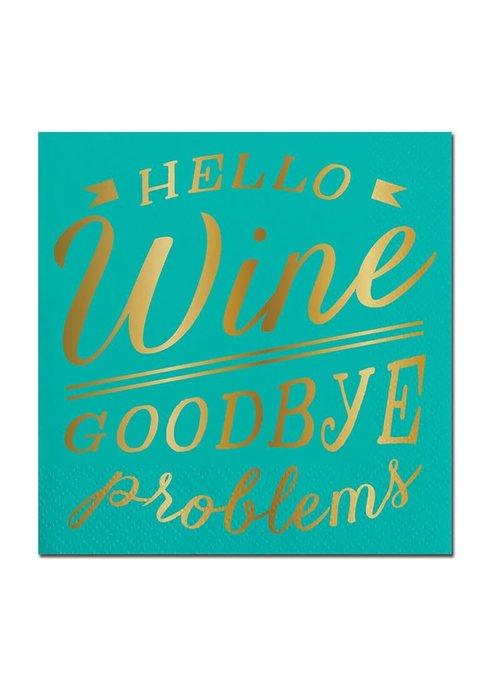 """Hello Wine Goodbye Problems"" Gold Foil Beverage Napkins 20-ct."