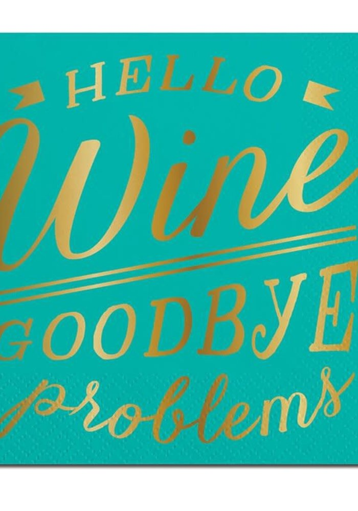 """Hello Wine Goodbye Problems"" Gold Foil Beverage Napkins 20-ct."