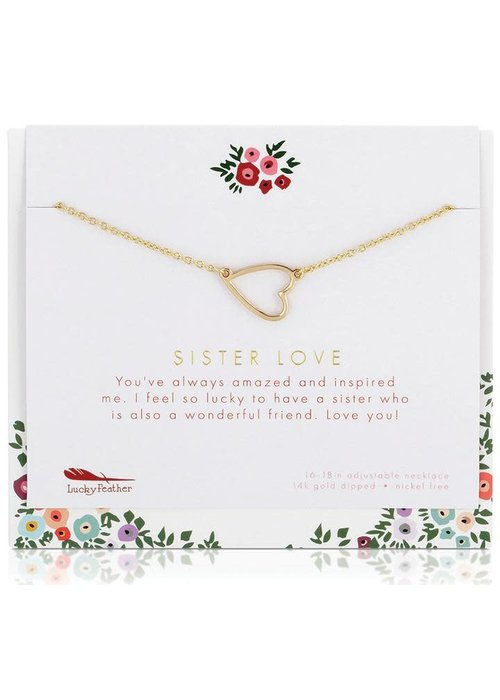 "Lucky Feather ""Sister Love"" Necklace + Card Gift Set"