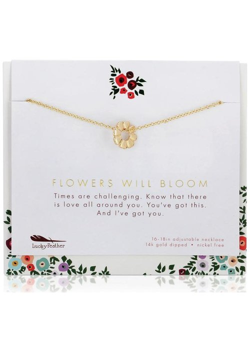 "Lucky Feather ""Flowers Will Bloom"" Necklace + Card Gift Set"