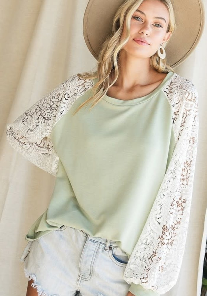 Sage Lace Sleeve Pullover