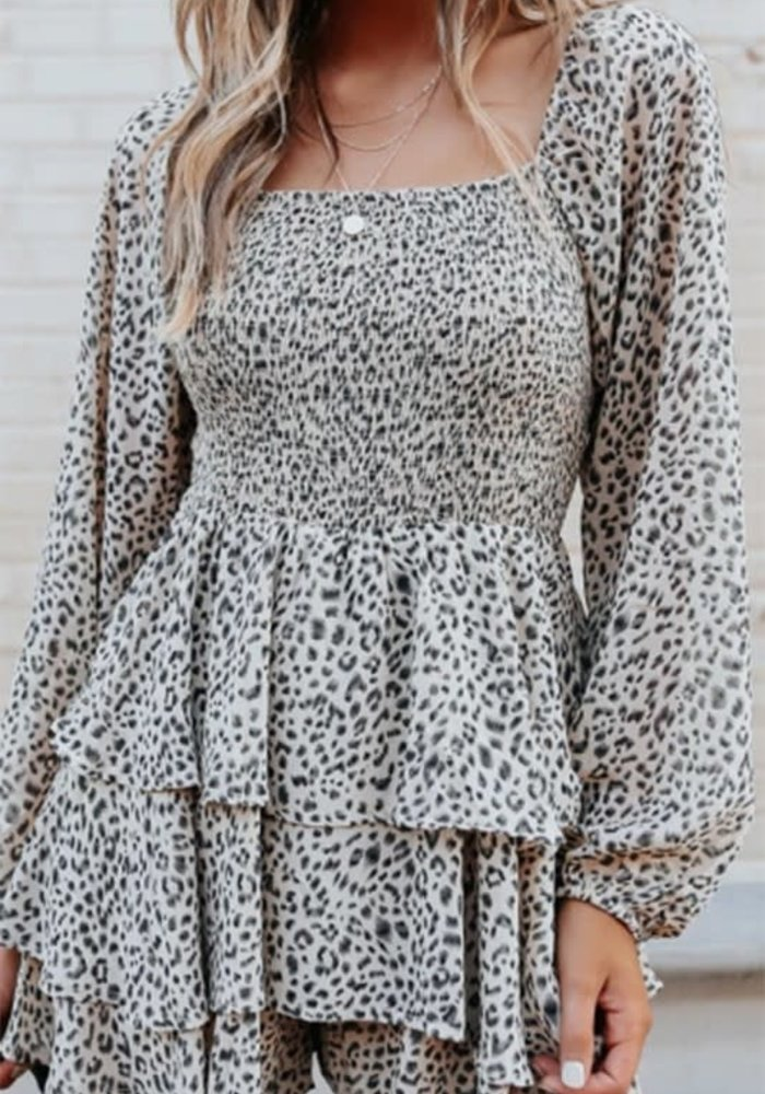 Leopard Smock Body Mini Dress