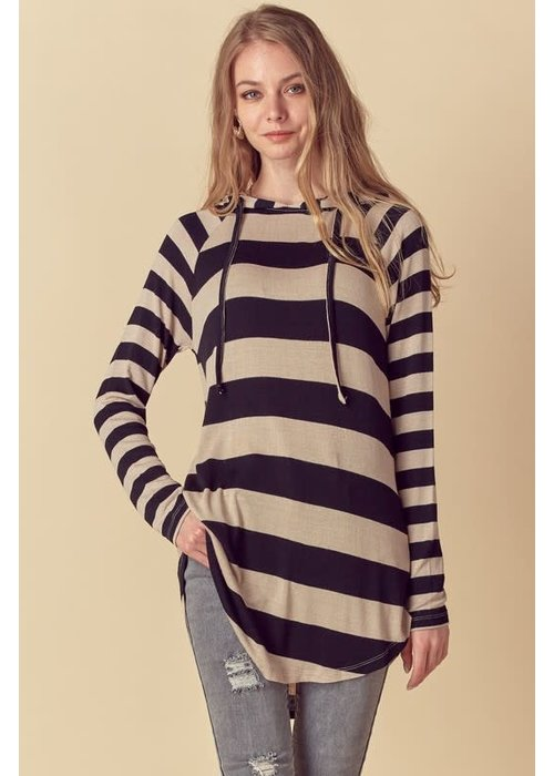 Black & Taupe Stripe Hooded Tunic