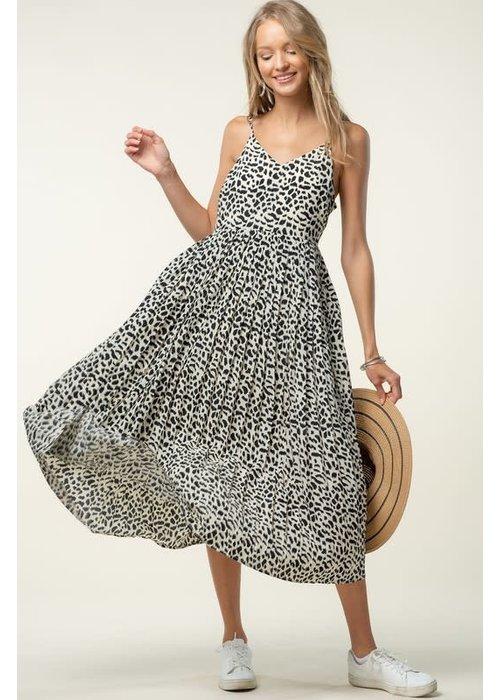 Animal Print Pleated Dress