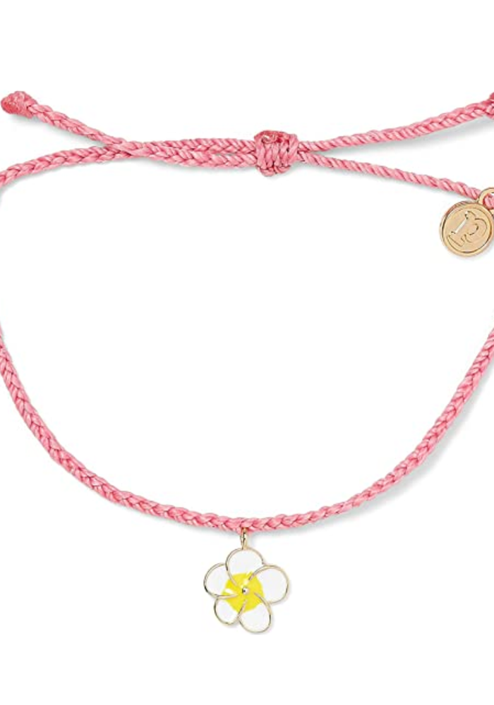 Painted Plumeria Gold Charm Candy Pink