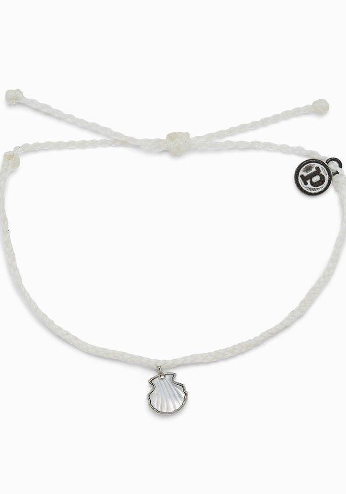 Real Shell Silver Charm Bracelet White