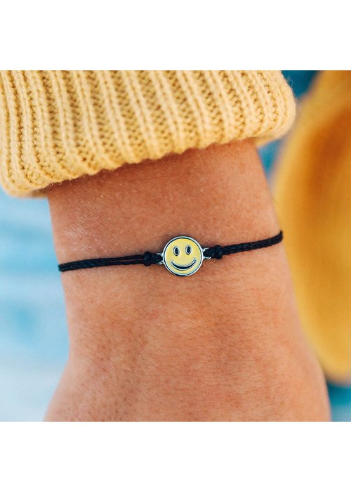 Pura Vida Happy Face Charm Bracelet Black