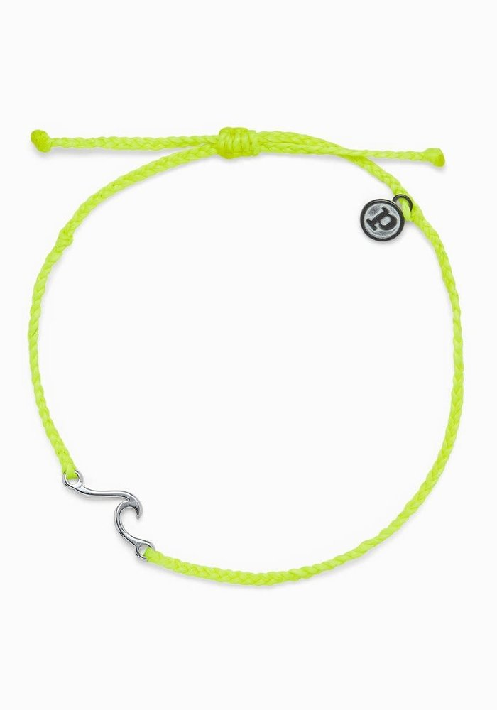 Neon Yellow Silver Shoreline Anklet