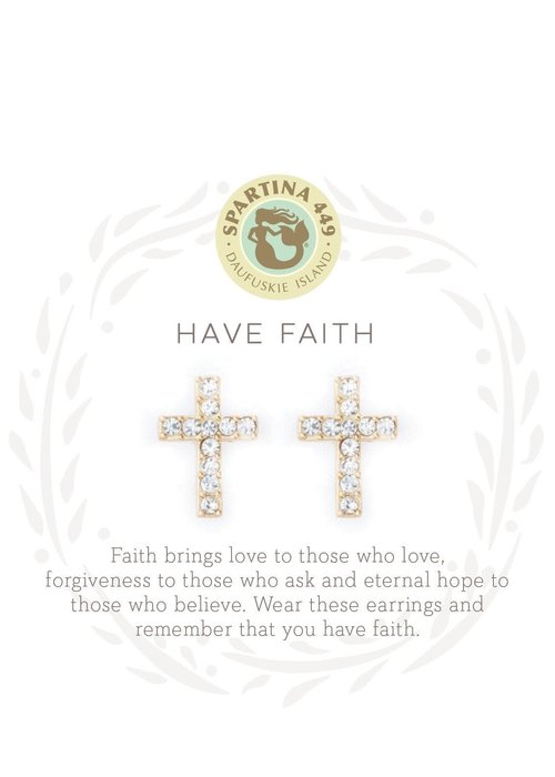 "Spartina 449 Sea La Vie ""Have Faith"" Gift Message Earrings"