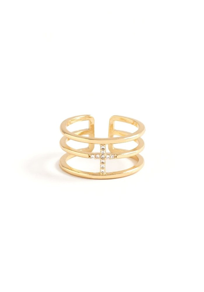 3-Row Pave Cross Ring