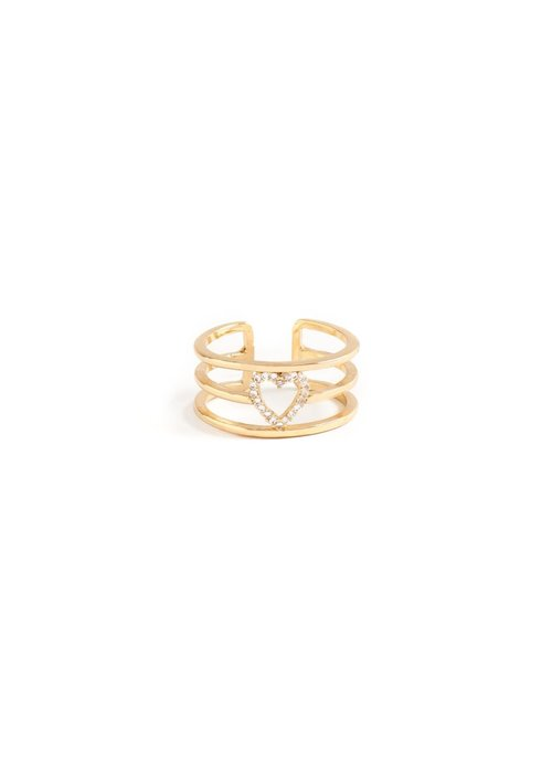 3-Row Pave Heart Ring