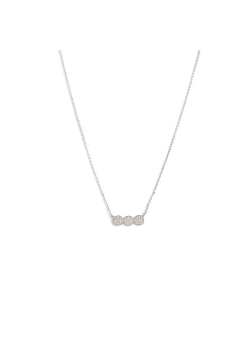 Petite Triple Circle Pave Necklace