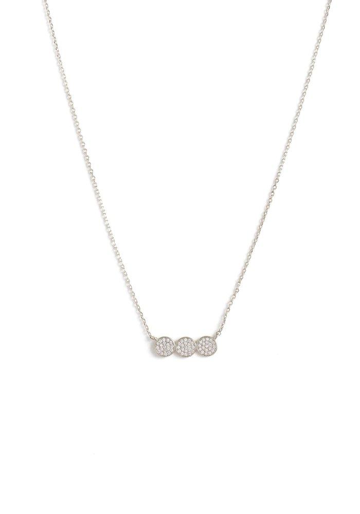 Petite Triple Circle Pave Necklace