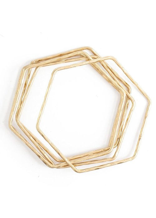 Hammered Hexagon Bangle Set