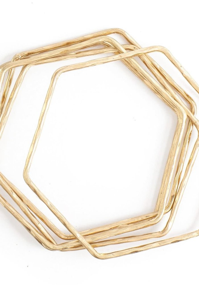 Hammered Hexagon Bangle Set