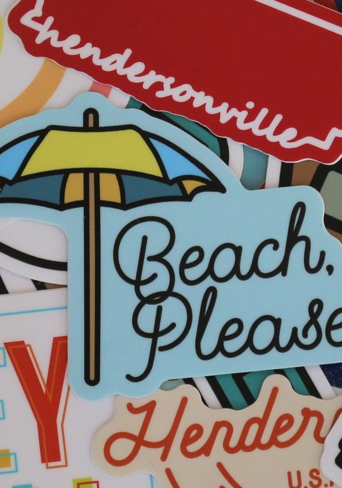 """Beach, Please"" Umbrella Sticker"
