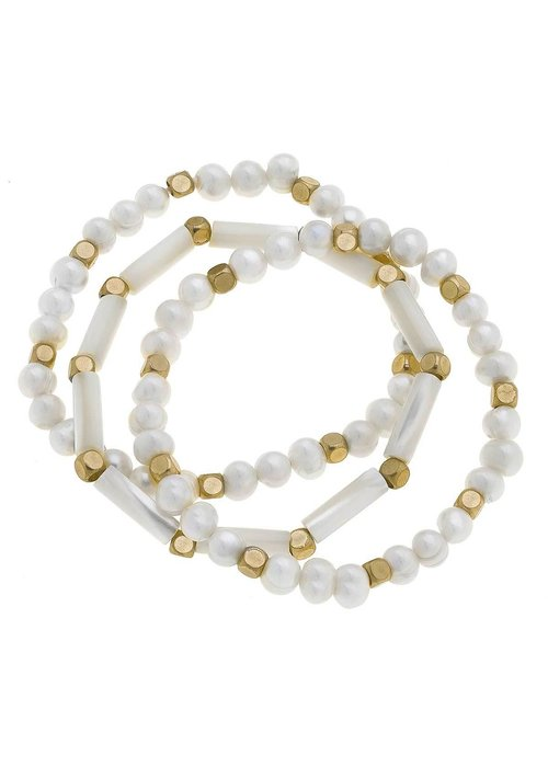 Alexa Freshwater Pearl Stretch Bracelets in Ivory (Set of 3)