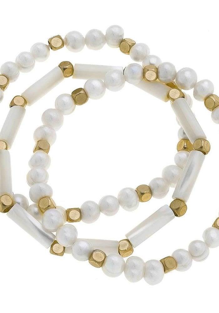 Alexa Freshwater Pearl Stretch Bracelets in Ivory (Set of 3)